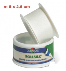 Rollsilk cerotto in seta artificiale bianca 5m x 2,5cm
